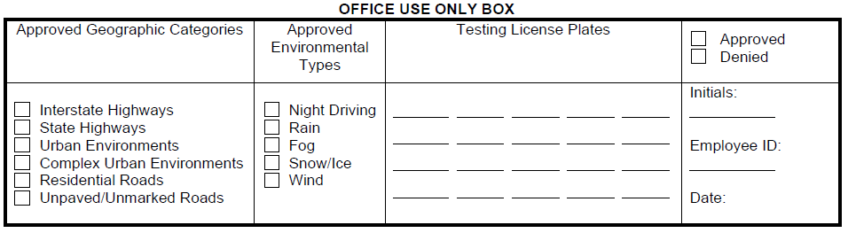 Excerpt of Nevada's application materials for autonomous driving testing (noting geographic categories and environmental types)
